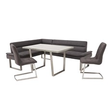 Arturo Table, Right Corner Bench & 2 Chair Set