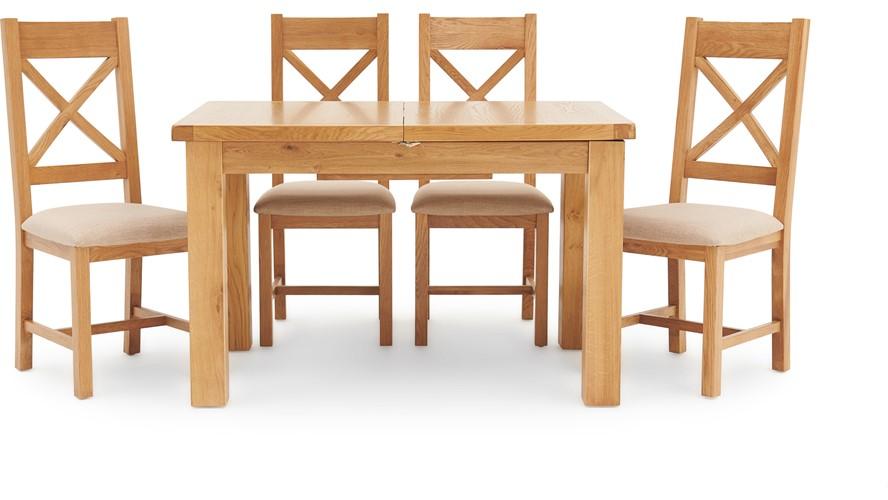 Ashbourne 125cm Extending Table & 4 Cross Back Chairs