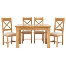 Ashbourne 125cm Extending Table & 4 Cross Back Chairs