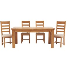 Ashbourne 170cm Extending Table & 4 Ladder Back Chairs
