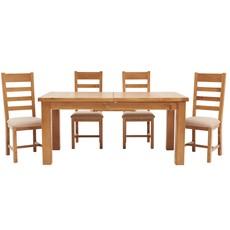 Ashbourne 170cm Extending Table & 4 Ladder Back Chairs