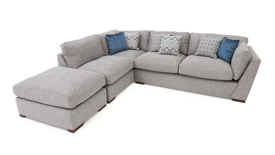 Carla Left Chaise Corner Sofa & Stool | Sterling Furniture