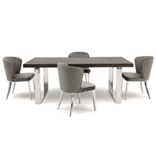 Champlain Dining Table & 4 Pearl Chairs