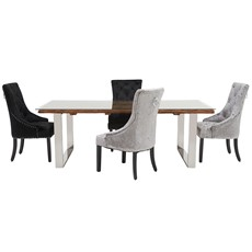 Columbus 200 Dining Table & 4 Voltaire Chairs