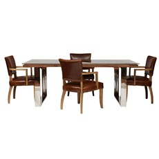 Columbus 220cm Dining Table & 4 Kingsley Chairs
