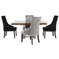 Columbus Square Dining Table & 4 Voltaire Chairs