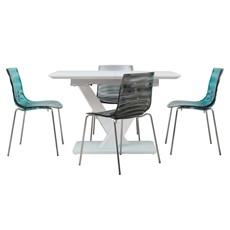 Cosmo Extending Dining Table & 4 Leau Chairs