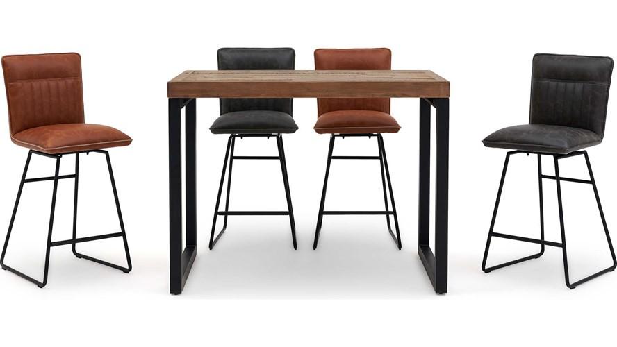 Detroit Rectangular Bar Table & 4 Marx Bar Chairs