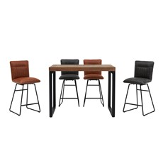 Detroit Rectangular Bar Table & 4 Marx Bar Chairs