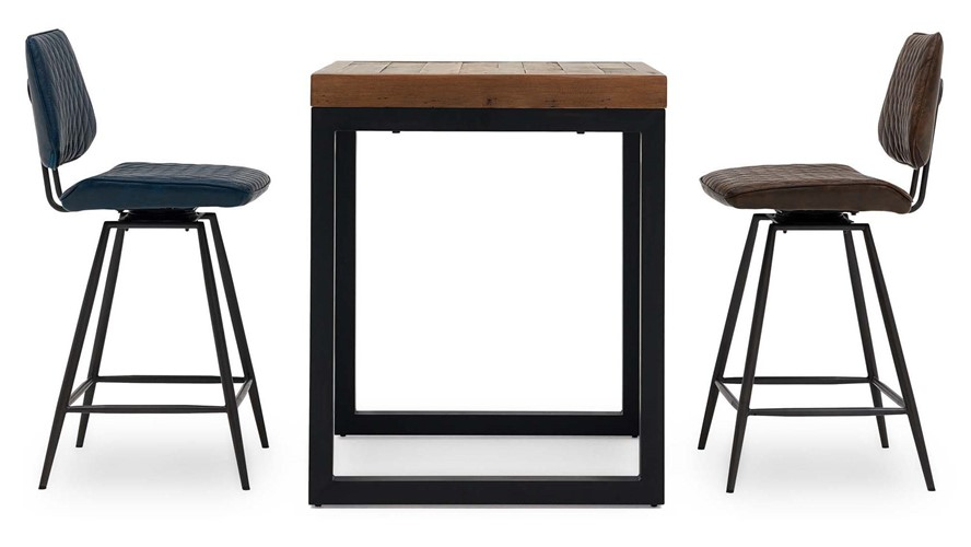 Detroit Square Bar Table & 2 Starley Bar Chairs