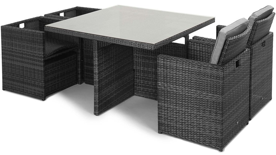 Eden Flatweave Cube Set Grey