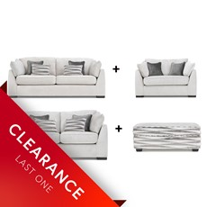 Ex Display Shelby 3 seater, 2 seater, Snuggler Chair & Footstool Set