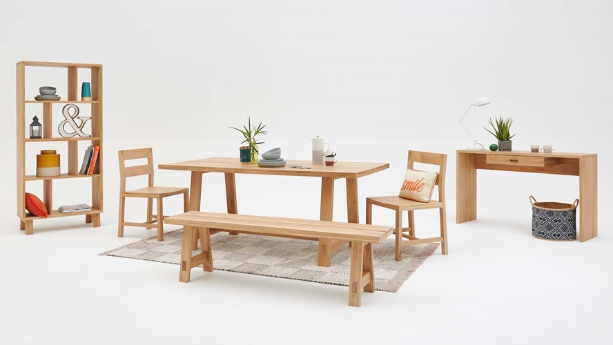 Henrik Dining Table, Bench & 2 Dining Chairs