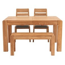 Hugo Extending Dining Table, Bench & 2 Hugo Chairs
