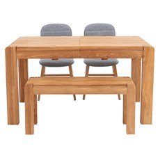 Hugo Extending Dining Table, Bench & 2 Elsa Chairs