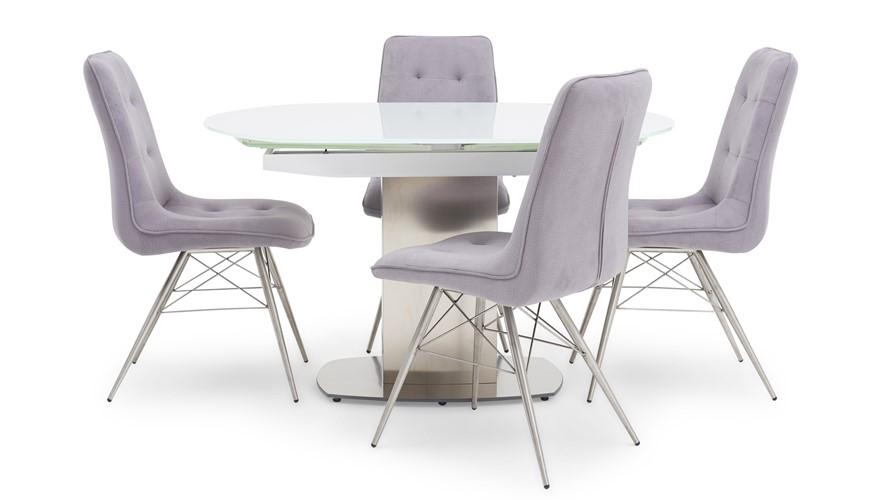 Jamila Extending Dining Table & Hamza Dining Chairs