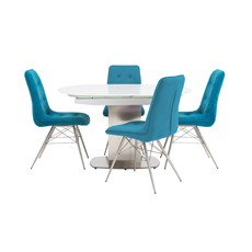 Jamila Extending Dining Table & Nahla Dining Chairs
