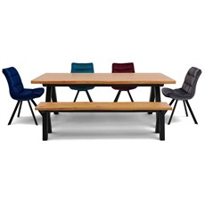 Kobe Dining Table, Extention Leaves, Bench & 3 Storm Chairs