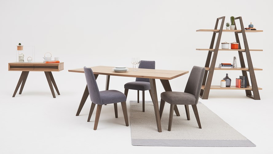 Larsen Dining Table & 4 Upholstered Chairs