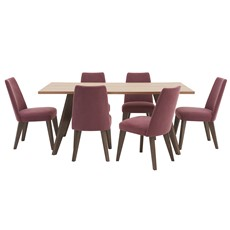 Larsen Dining Table & 6 Upholstered Chairs