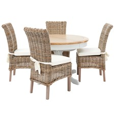 Maine Round Extending Dining Table & 4 Arundel Wicker Dining Chairs