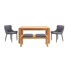Mezzano 150cm Dining Table, Small Bench & 2 Upholstered Dining Chairs