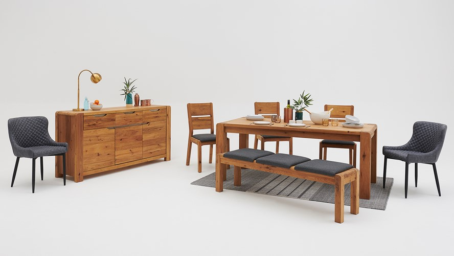 Mezzano 150cm Dining Table & 4 Upholstered Chairs