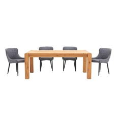 Mezzano 190cm Dining Table & 4 Upholstered Dining Chairs