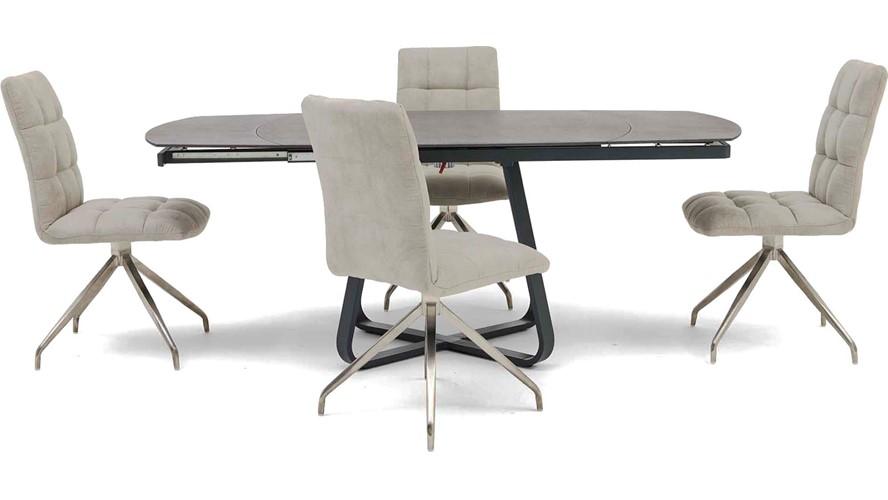 Nikita Extending Dining Table & 4 Dallas Chairs
