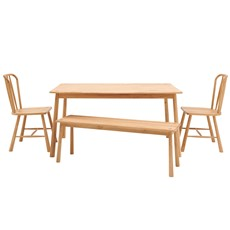 Nissa Dining Table, Bench & 2 Dining Chairs