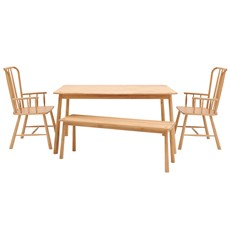 Nissa Dining Table, Bench & 2 Carver Chairs