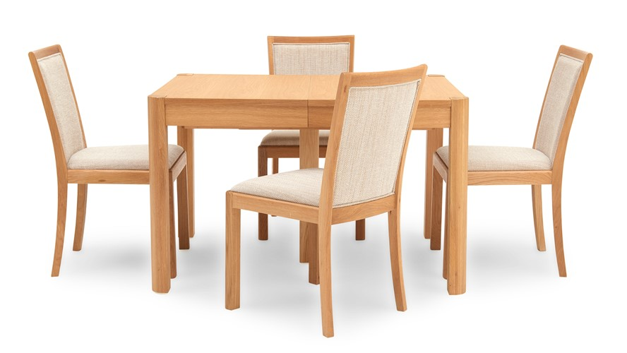 Olsen Rectangular Table & 4 Fabric Upholstered Chairs