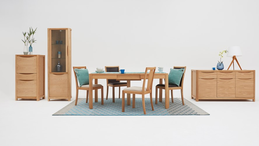 Olsen Rectangular Table & 4 Leather Upholstered Chairs