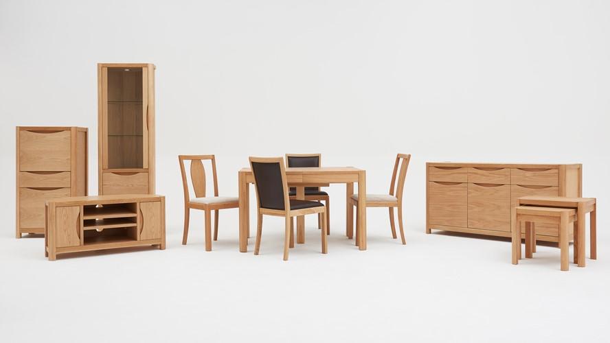 Olsen Rectangular Table & 4 Leather Upholstered Chairs
