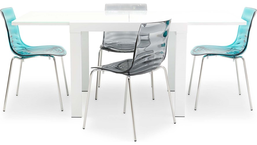 Omar Extending Dining Table & 4 Calligaris L'eau Chairs