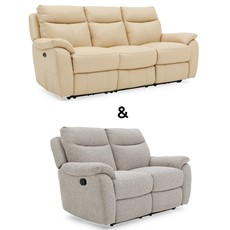 Poise 3 Seater Power Recliner & 2 Seater Power Recliner in leather