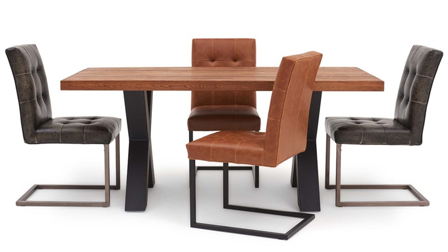Raindale Raindale Cross Leg Table & 4 Carnegie Chairs
