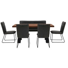 Raindale Cross Leg Dining Table, Marx Bench & 4 Marx Dining Chairs