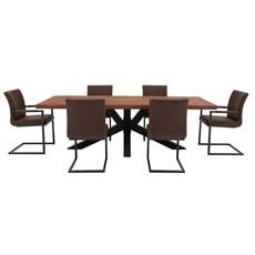 Raindale Star Leg Dining Table, 4 Drake Chairs & 2 Drake Carver Chairs