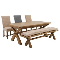 Ryedale Dining Table, Bench & 3 Leyton Chairs