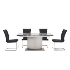 Samira Extending Dining Table & 4 Emir Dining Chairs