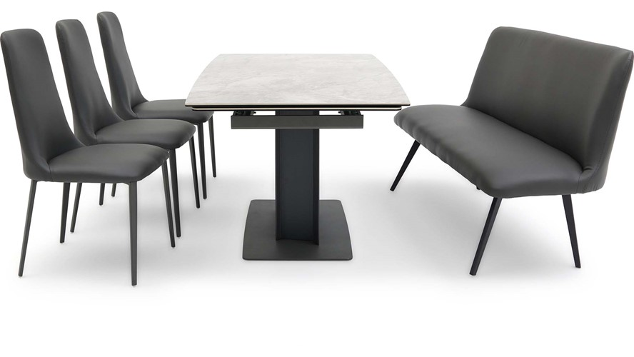 Sergio Table, Cierra Bench & 3 Chairs