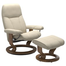 Stressless Consul Small Chair with Classic Base - Cream