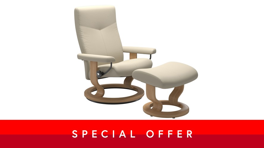 Large Stressless Dover Chair &  Stool - Classic base, Cream leather
