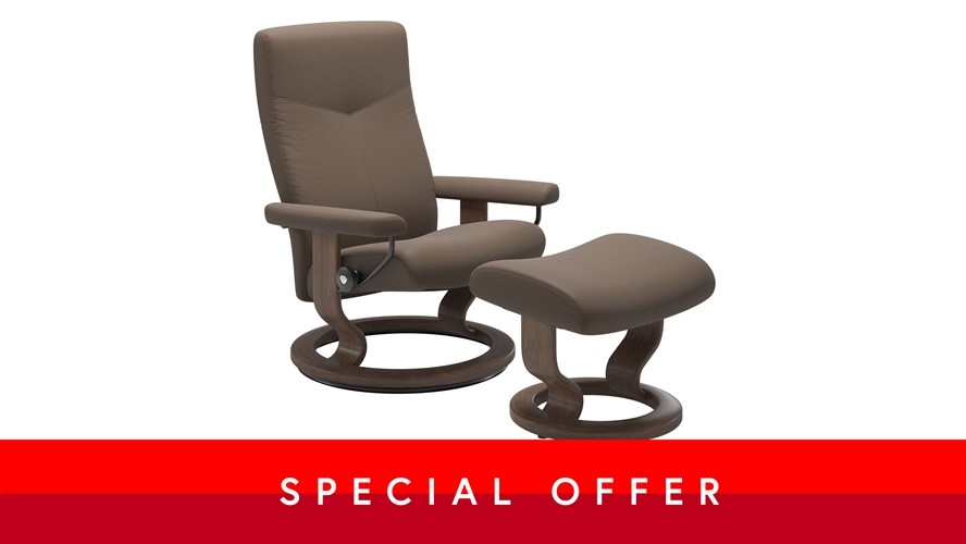 Large Stressless Dover Chair &  Stool - Classic base, Mole leather