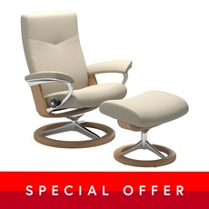 Medium Stressless Dover Chair &  Stool - Signature base
