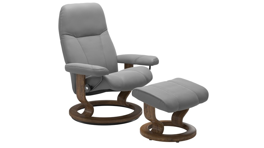 Stressless Consul Medium Chair with Classic Base - Dove