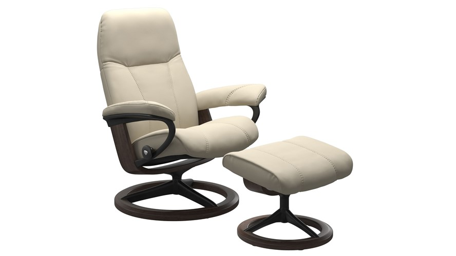 Stressless Consul Medium Chair with Signature Base - Cream