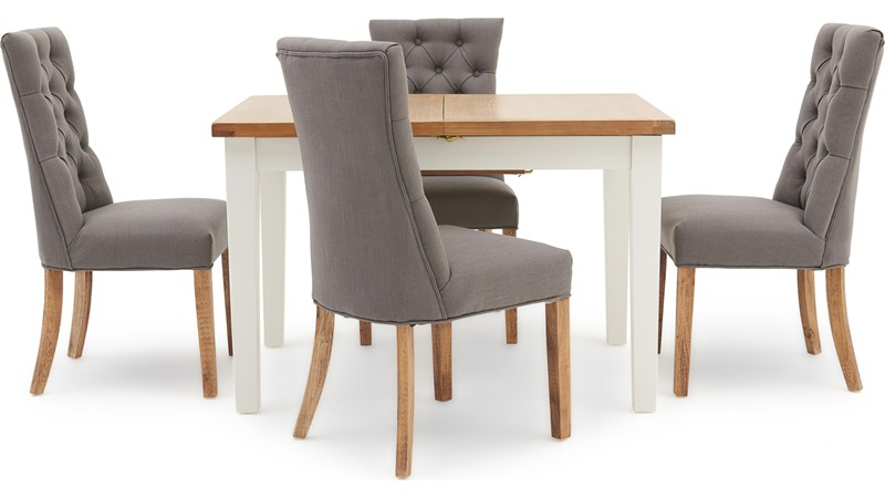 St Ives 120cm Extending Table & 4 Cranbrook Curved Dining Chairs