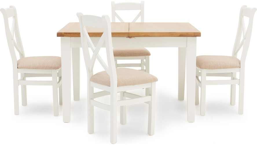 St Ives 120cm Extending Table & 4 Cross Back Chairs